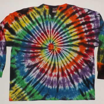 3XL Long Sleeve Tie Dye - Swirl w/ Black - Choose Any Colors