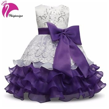 Baby Girls Party Dress New 2017 European Style Summer Bow Flowers Sequins Ball Gown Dresses Fashion Children Girls Vestidos Hot