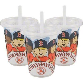 Boston Red Sox MLB 10 oz Sip n Go Plastic Cups (Set of 3) BPA Free