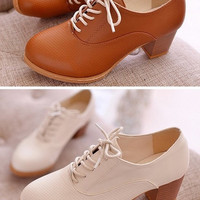2015 Spring New Women's Oxfords Shoes Spring Autumn Female Casual Pumps Brown Black Square Heel Round Toe Woman Shoes Leather Boots = 1946926788