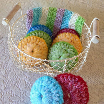 Nylon  Scrubby Gift Set / 8 Large Double-Layered Dish Scrubbers & 1 Hand-Knit Dishcloth in a Cute Chain Link Basket -  - Gift For Her
