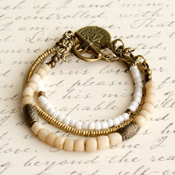 Multi Strand Indonesian and African Vintage Glass Bead Bracelet