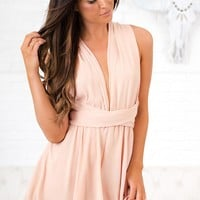 Bring Me Up Self Tie Romper (Beige)