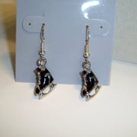 Ice Skating Earrings - Your Choice of Black or White Skates - Fun Design for Hockey Fans and those who love Winter