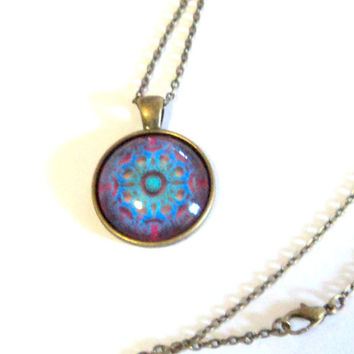 Necklace Pendant Antique Bronze 25mm Celtic Knot Cab Blue Green Ruby Red 24 Inch Cable Chain