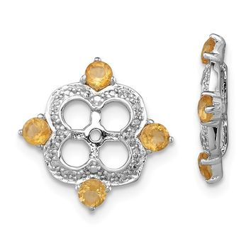 925 Sterling Silver Rhodium Diamond and Citrine Earring Jacket
