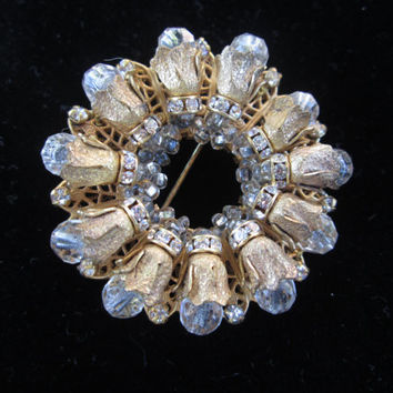 Miriam Haskell Floral Wreath Brooch Golddtone Filigree Glass Beads and Rhinestones