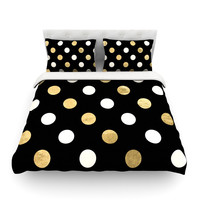 "KESS Original ""Golden Dots"" Black Gold Featherweight Duvet Cover"