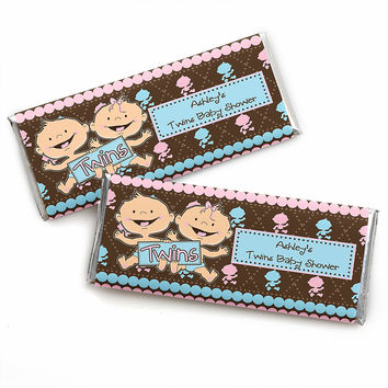 Twin Modern Babies 1 Boy & 1 Girl Caucasian - Personalized Baby Shower Candy Bar Wrapper Favors