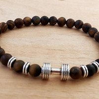Mens Bracelet Perle Homme Bracelet TIGER EYE Mat 6 mm Dumbbell Natural Bracelet Chakra Energy Tiger eye Chains Bracelet Energy Tiger Eye 6