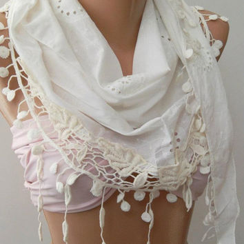 White  -- Elegance Shawl / Scarf with Lace Edge,,,,