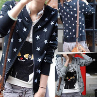 Korean Women Girl Lady Casual Stars Printing Zipper Cardigan Hoodie Blouse Tops = 1931795076