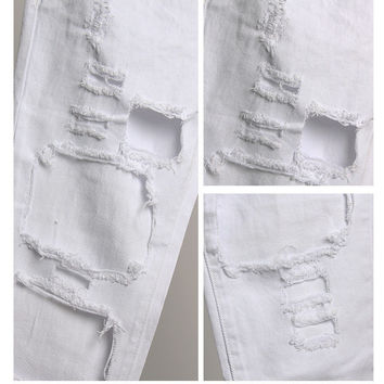 Women's Hole Ripped Jeans 90's Grunge Boyfriend Denim - White