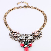 Luxe Rose Statement Necklace - Pink + Ice