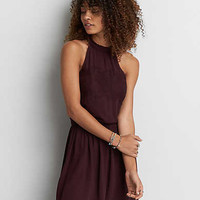 AEO Hi-Neck Keyhole Back Dress, Burgundy