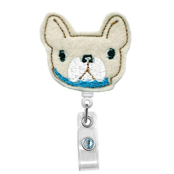 Cute French Bulldog Puppy -Badge Holder - Nurses Badge Holder - Cute Badge Reels - Unique  ID Badge Holder - Felt Badge - RN Badge Reel