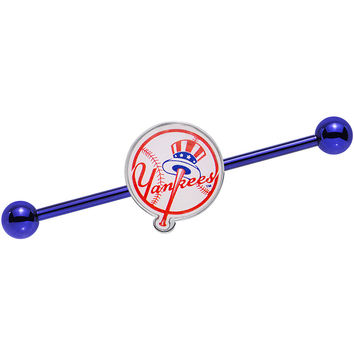 Licensed MLB Blue Anodized New York Yankees Industrial Barbell 38mm