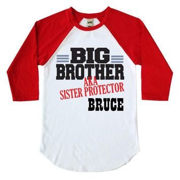 Big Brother Aka Sister Protector Personalized Kids Raglan Shirt