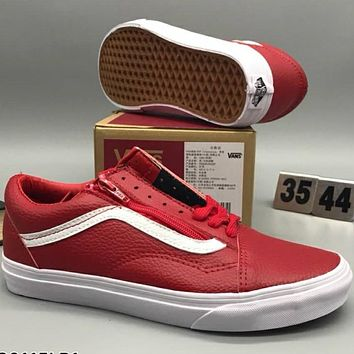 VANS Leather, zipper, personality, leisure, fashion shoes L-CSXY Red