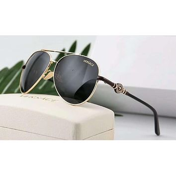 Versace Summer Popular Women Men Elegant Sun Shades Eyeglasses Glasses Sunglasses Black Gold Framework I-A-SDYJ