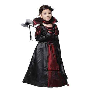 Halloween Dress Black Lace Queen Vampire Costume Kids Carnival Masquerade Party Fancy Costumes Girls's Dress M09