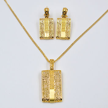 Sunny Jewelry Fashion Jewelry 2017 Women's Jewelry Sets Necklace Earrings Pendant Gold Plated Alloy Lock For Party Wedding Gift
