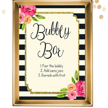 INSTANT DOWNLOAD Bubbly bar sign / bachelorette drink sign / champagne sign / drink table sign / bar sign / mimosa sign /champagne station