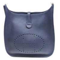 HERMES Evelyn 3 PM Shoulder Bag Clemence Leather Blue nuit SHW Crossbody