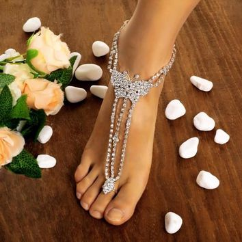 Hot Fashion Women Butterfly With Toe Ring Foot Chain Rhinestone Barefoot Wedding Bride Anklets