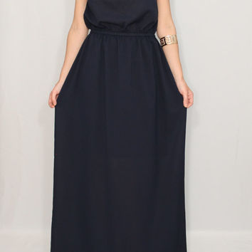 Navy blue Bridesmaid dress Chiffon dress Long navy blue dress Prom dress
