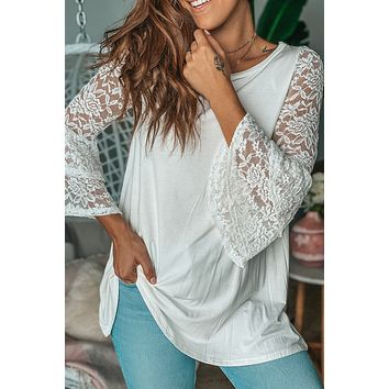 Ivory Tunic with Lace Sleeves