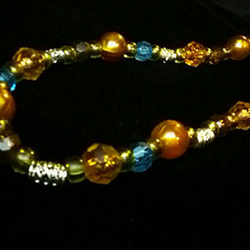 "Sparkling Electric Blue and Golden Yellow Crystals with Lime Spacers and Silver Hardware -17"" long necklace"