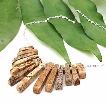 New - semi precious stone stick necklace - picture jasper and sterling silver - chevron necklace - bib - statement