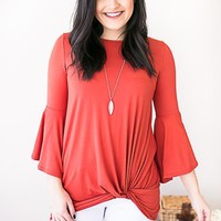 Breathe Easy Bell Sleeve Knot Top