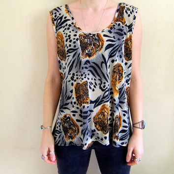 80s Lion Tiger Shirt Animal Print Tank Top Retro Shirt Vintage Safari Jungle Top Oversized Boxy Crop Shirt Ribbed Tank Top Womens Large