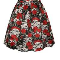 HDY Haoduoyi Autumn Women Fashion Halloween  High Waist Soft Color Block Red Rose Skull Print Skirt Sexy Casual Slim Skirt