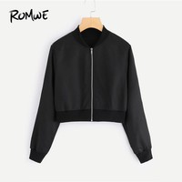 ROMWE Black Solid Zip Up Front Bomber Jacket 2018 Autumn Women Casual Stand Collar Clothing New Arrival Ladies Plain Crop Coat