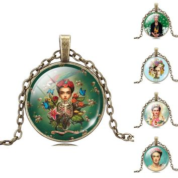 Retro Style Vintage Jewelry Bronze Plated with Glass Cabochon Frida Kahlo Pattern Chokr Long Pendant Necklace for Women Party