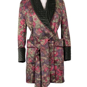 Sylvia Patterned Silk and Velvet Smoking Jacket