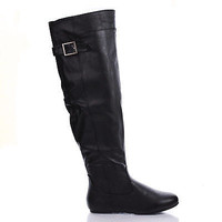 Rebecca60 Black Pu By Bamboo, Slouchy Equestrian Riding Boots w Harness Buckles, New Women Shoes