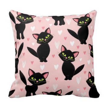 Kawai,pink,cute,cats,black,girly,trendy,fun,happy, Throw Pillows