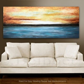 XXL landscape Painting Original 6 foot large abstract landscape art 30x72 blue gray seascape oil painting by L.Beiboer FREE SHIPPING