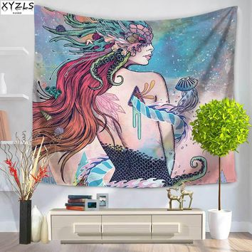 XYZLS 150*200cm Abstract Mermaid Wall Tapestry Polyester Rectangle Beach Towel 150*130cm Yoga Mat Sofa Cover