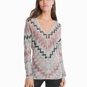 White House Black Market V-neck Chevron Pullover Sweater