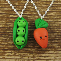 Peas and Carrot Best Friend Necklace Set by rapscalliondesign