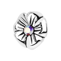 925 Sterling Silver Aurora Gem Flower Internally Threaded Dermal Top