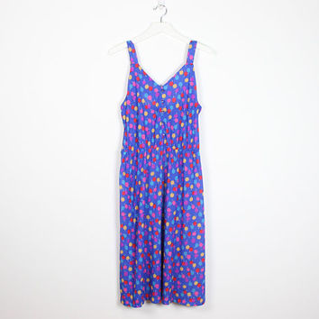 Vintage 70s Dress Blue Rainbow Polka Dot Novelty Apple Fruit Print Midi Dress 1970s Dress Sleeveless Sundress Hippie Dress Extra Large XL
