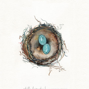 Robins Nest / Robin eggs / blue / Watercolor Print / Mother's Day Gift