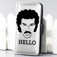 Lionel Richie Hello music wallet case for iphone 4,4s,5,5s,5c,6 and samsung galaxy s3,s4,s5