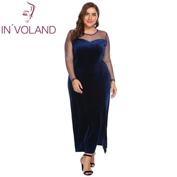 IN'VOLAND Plus Size Women Party Dress L-4XL Spring Autumn Large Sheer Mesh Split Velvet Slim Fit Vintage Maxi Dresses Oversized